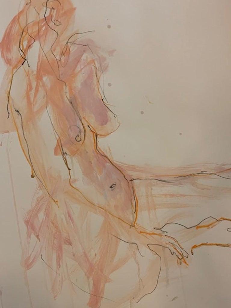 Judith Brenner, Sophie Seated 3, Original Figurative Painting, Nude Artwork - Brown Nude Painting by Judith Brenner