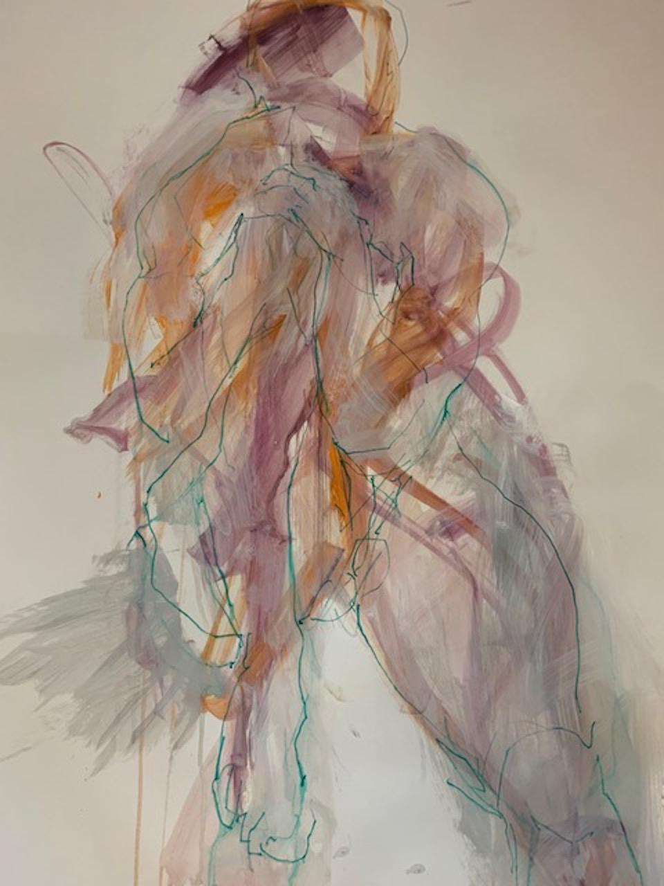 Judith Brenner, Rich Seated 1, Original Life Painting, Cubist Impressionsit Art
