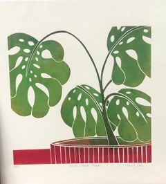 Kerry Day, Swiss Cheese Plant, Limited Edition Print, Floral Art, Bright Art