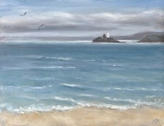 Marie Robinson, Godrevy Light, Original Landscape Painting, Oil Painting