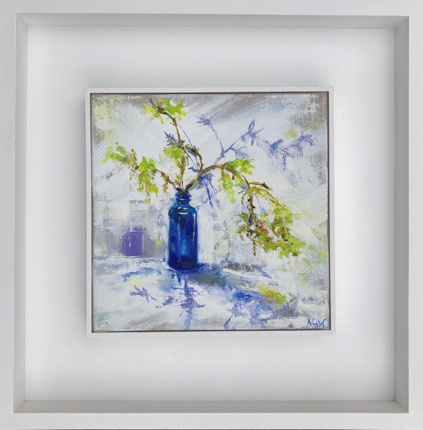 Blue Bottle and Spring Green BY ANGELA GORDON-WEBB, Original Still Life Painting