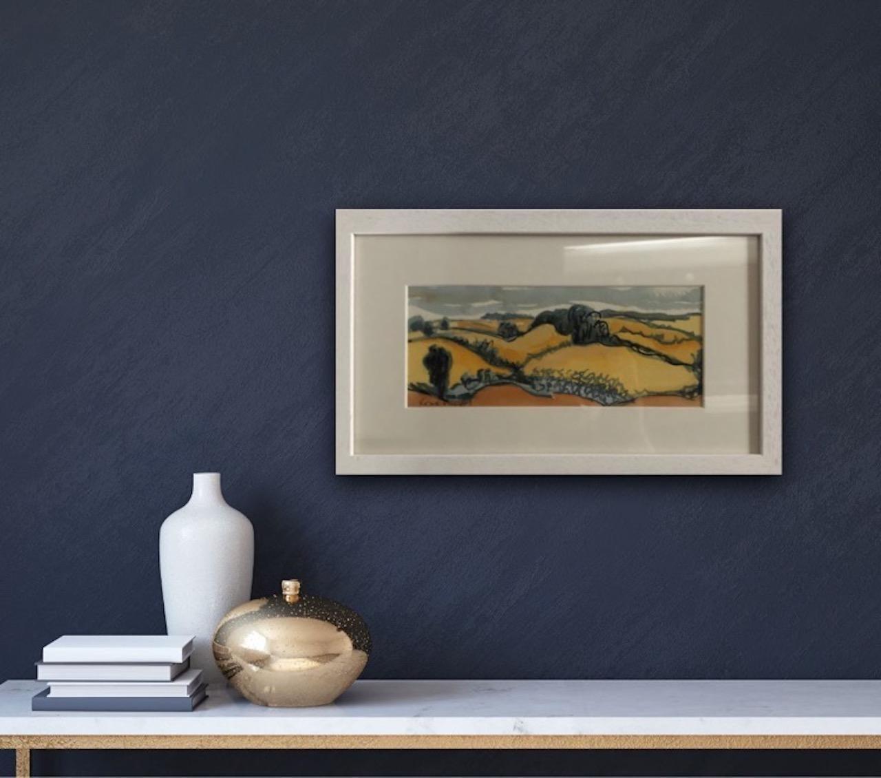 Rosie Phipps, Warm Cotswolds, Original Landscape Watercolour Painting