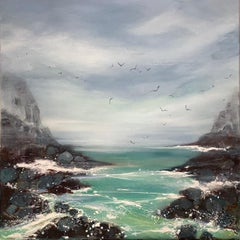 Adele Riley, Hidden Cove, Original Seascape Painting, Bright Art, Affordable Art