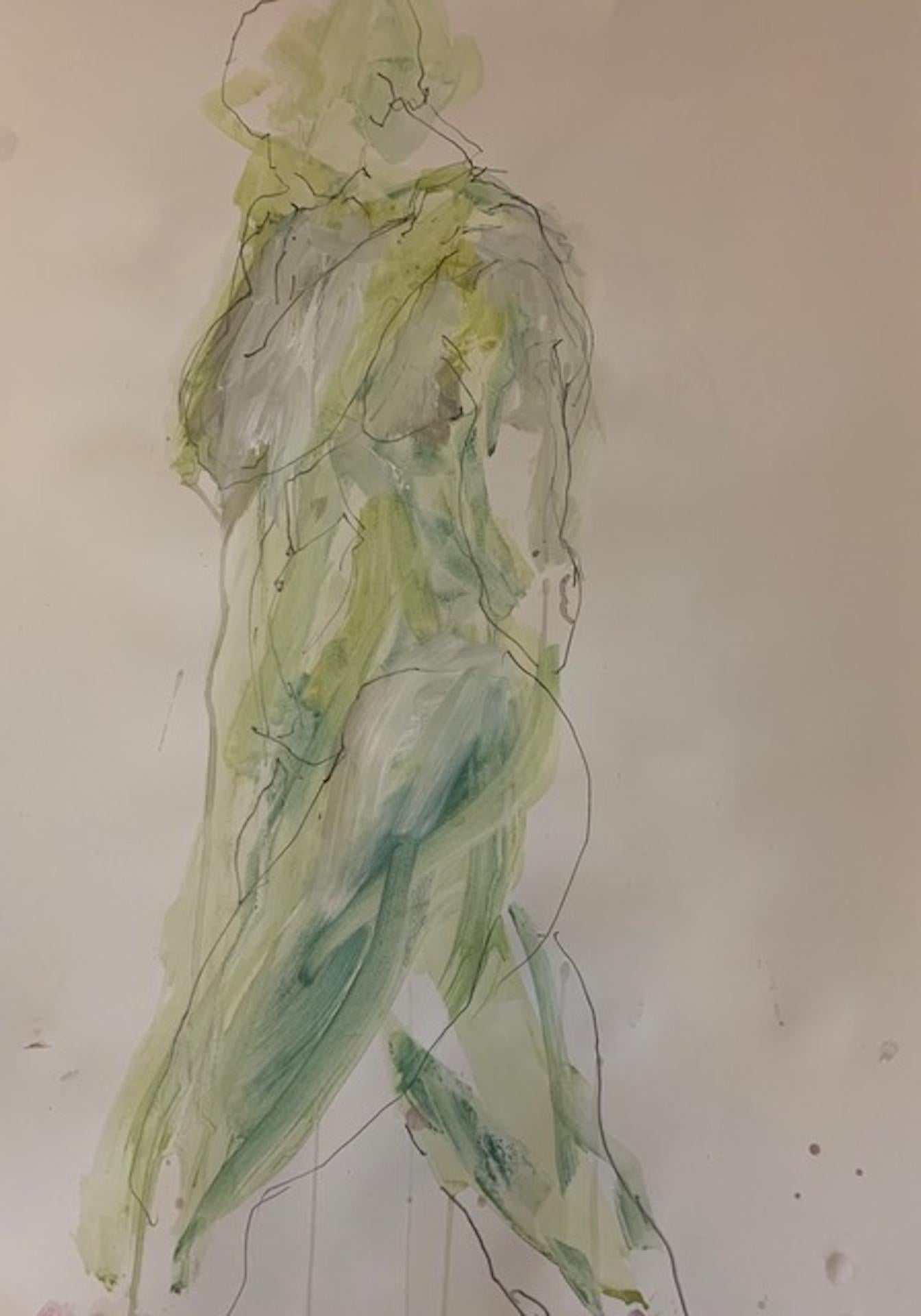 Judith Brenner, Rich Standing 1, Original Figurative Drawing, Nude Painting
