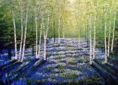 Amanda Horvath, Paradise Blue, Original Art, Bluebell Wood Painting, Happy Art