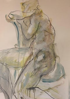 Judith Brenner, Rich Seated 2, Original Contemporary Life Drawing, Nude Painting
