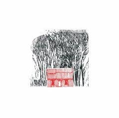 Philippa Thomas, Red House in the Woods, Minimalist Art, B&W Art, Bright Art
