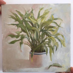 Benedict Flanagan, Peace Lily, Original Still Life Painting, Contemporary Art