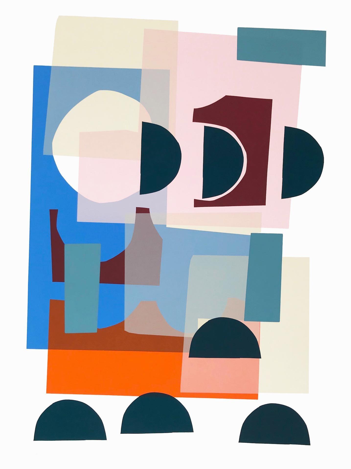 Jonathan Lawes, Triana, Original Bright Art, Contemporary Cubist Geometric Print