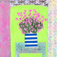 Amy Christie, Pink Cyclamens on Lime Green, Original Bright Still Life Painting