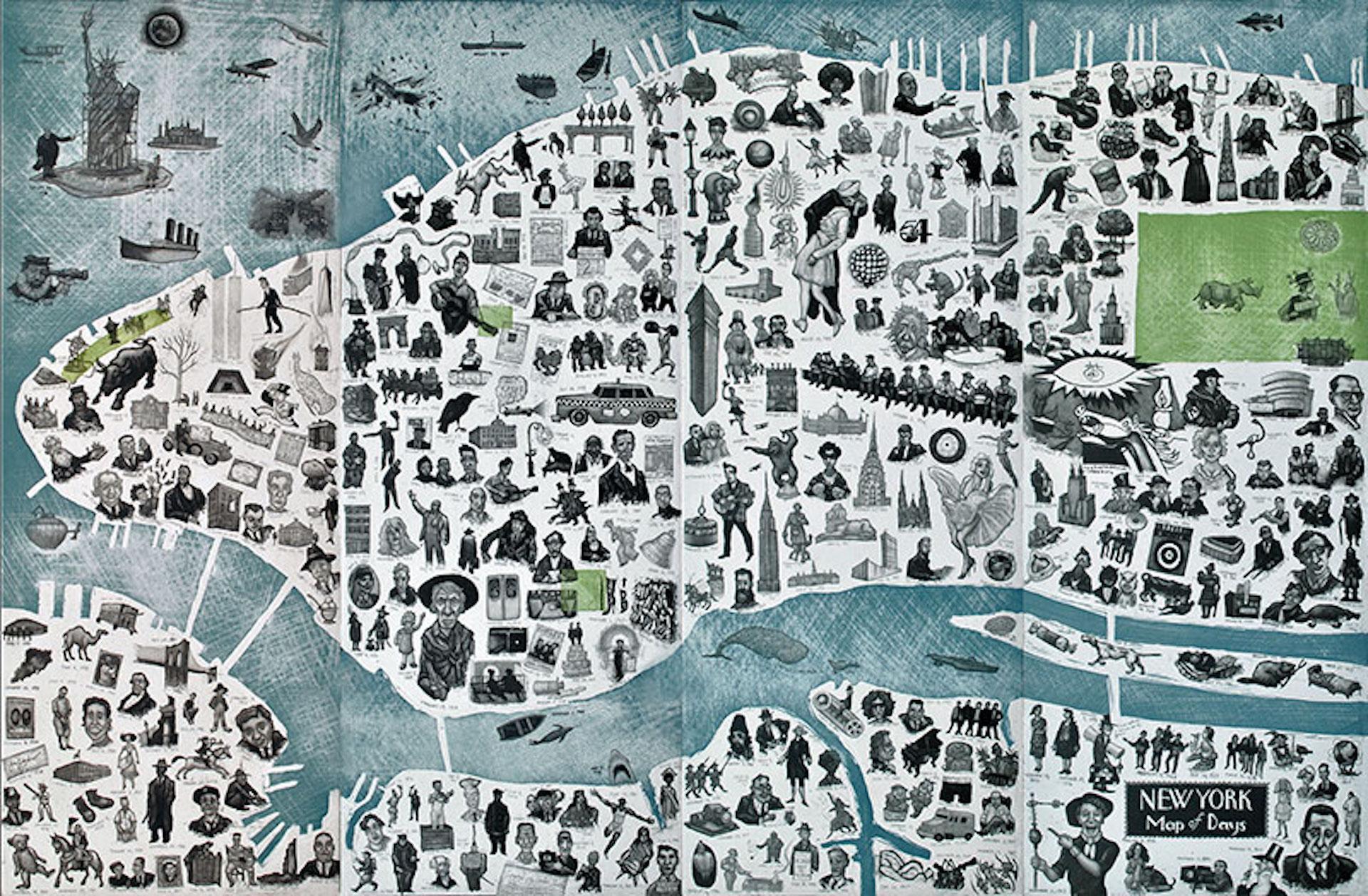 Mychael Barratt, Map of New York Days, Illustration New York Map, Blue Art, NYC