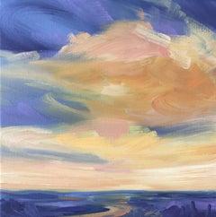 Suzanne Winn, Sunset I, Original Landscape Painting, Bright Affordable Artwork