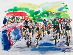 Stage 5 Tour Down Under BY GARTH BAYLEY, Original Cyclist Painting, Sports Art