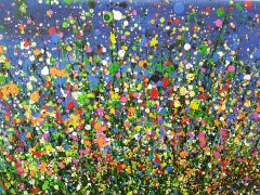 Midnight Meadow Flourish #4 BY LUCY MOORE, Abstract Expressionist Landscape Art
