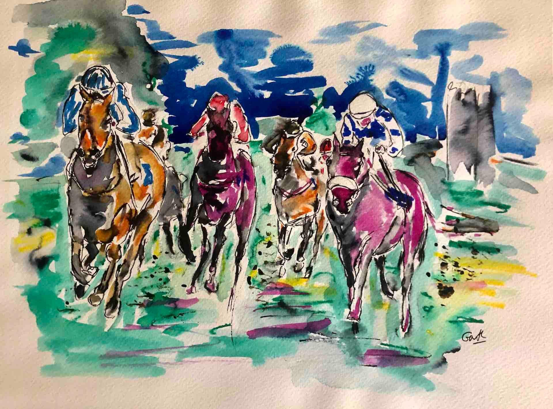 Mother always say purple and orange will never do! BY GARTH BAYLEY, Equine Art