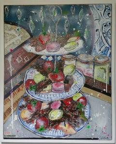La Celebration BY JULIA ADAMS, Original Still Life Painting, Bright Interior Art