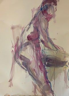 Judith Brenner, Rich Seated 3, Original Nude Painting, Figurative Art, Life Draw