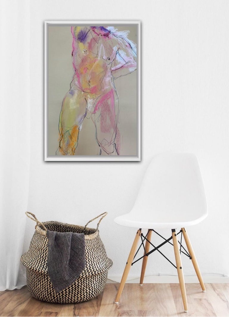 Judith Brenner Alberto Standing 2 Original Figurative Painting Mixed Media on Paper Size: H 84.1cm x W 59.4cm x D 0.1cm Sold Unframed Please note that insitu images are purely an indication of how a piece may look.  Alberto Standing 2 is a