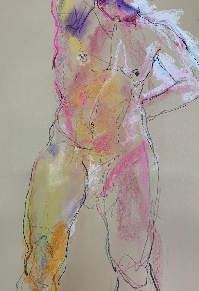 Judith Brenner, Alberto Standing 2, Contemporary Figurative Life Painting, Nude - Gray Abstract Painting by Judith Brenner