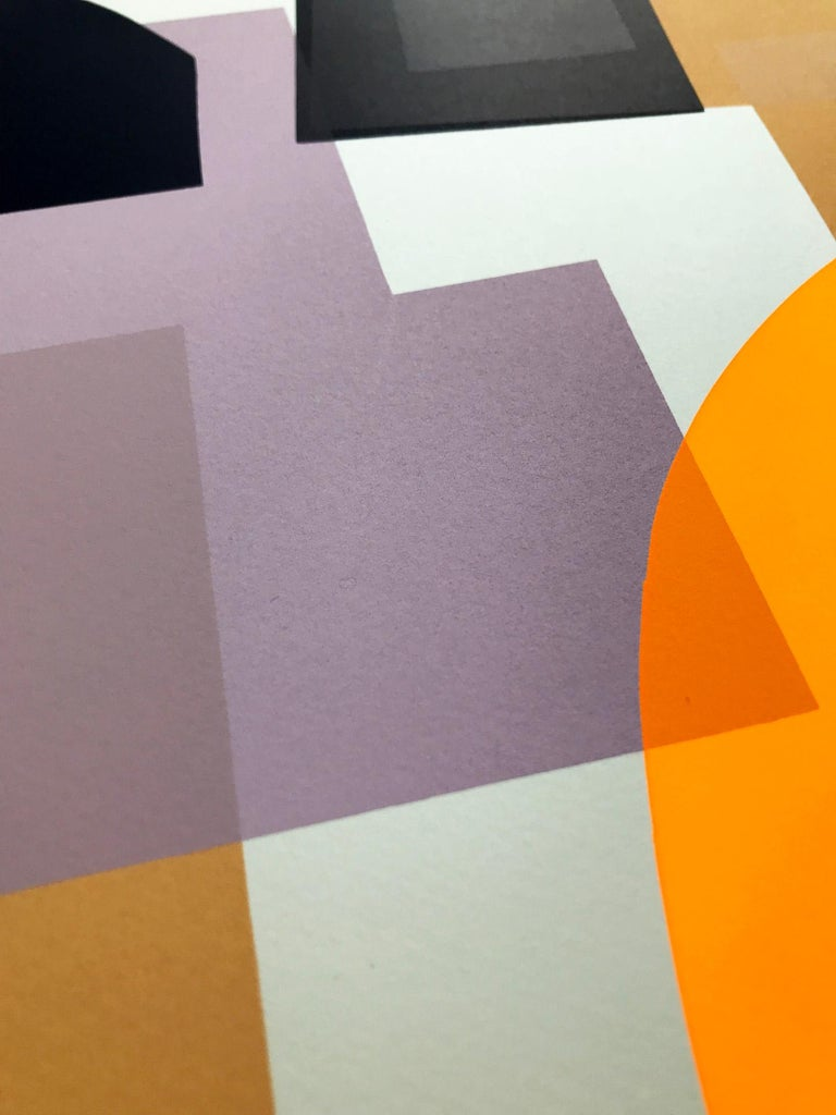 Jonathan Lawes, Flux 02, Abstract Geometric Art, Bright Art, Affordable Art - Orange Print by Jonathan Lawes