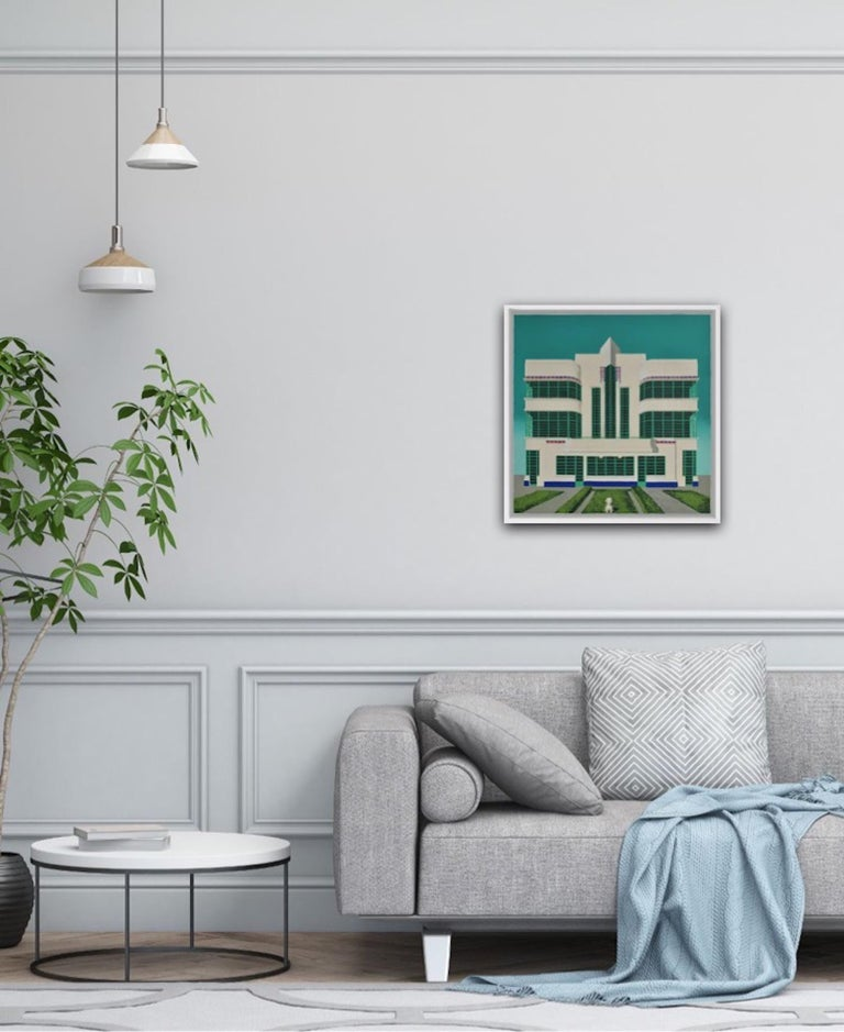 Wes Anderson's Dog – Hoover Building, Mychael Barratt, Bright Art, Pop Art For Sale 2