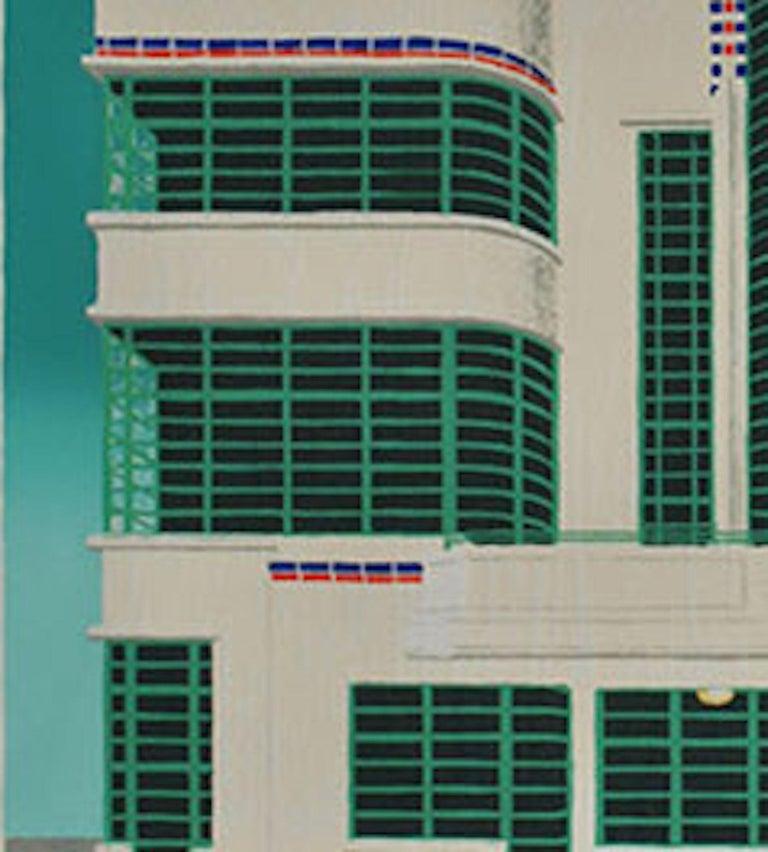 Wes Anderson's Dog – Hoover Building, Mychael Barratt, Bright Art, Pop Art - Blue Animal Print by Mychael Barratt