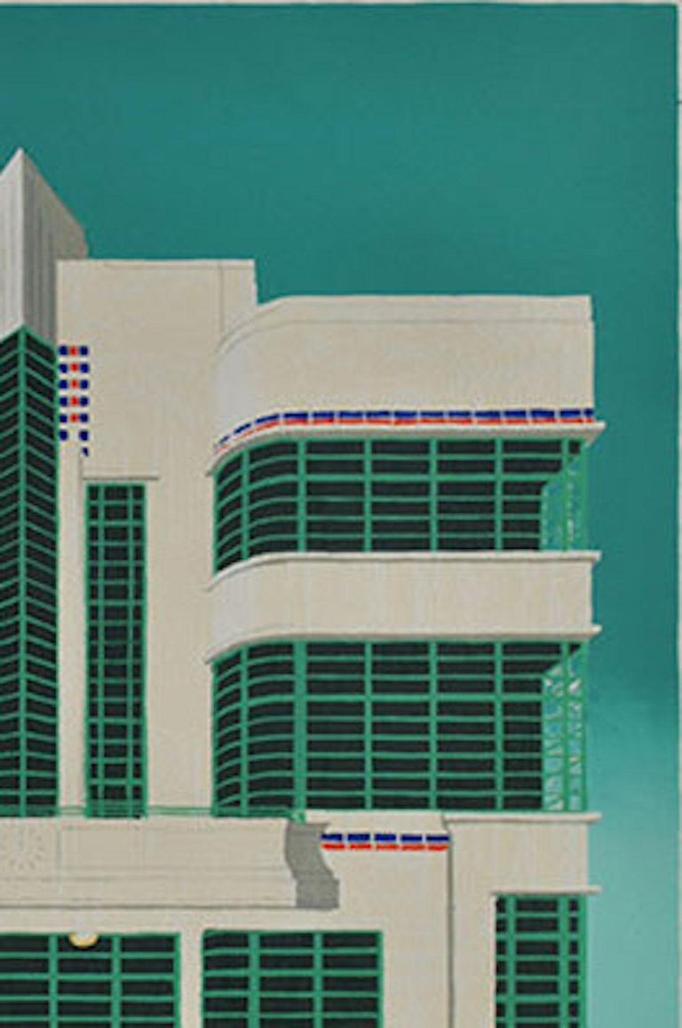 Mychael Barratt Wes Anderson's Dog – Hoover Building Limited Edition Silkscreen Print of 50 Silkscreen Print on Paper Size: H 50cm x W 50cm Signed and titled Sold Unframed  Wes Anderson's Dog – Hoover Building is a limited edition silkscreen print