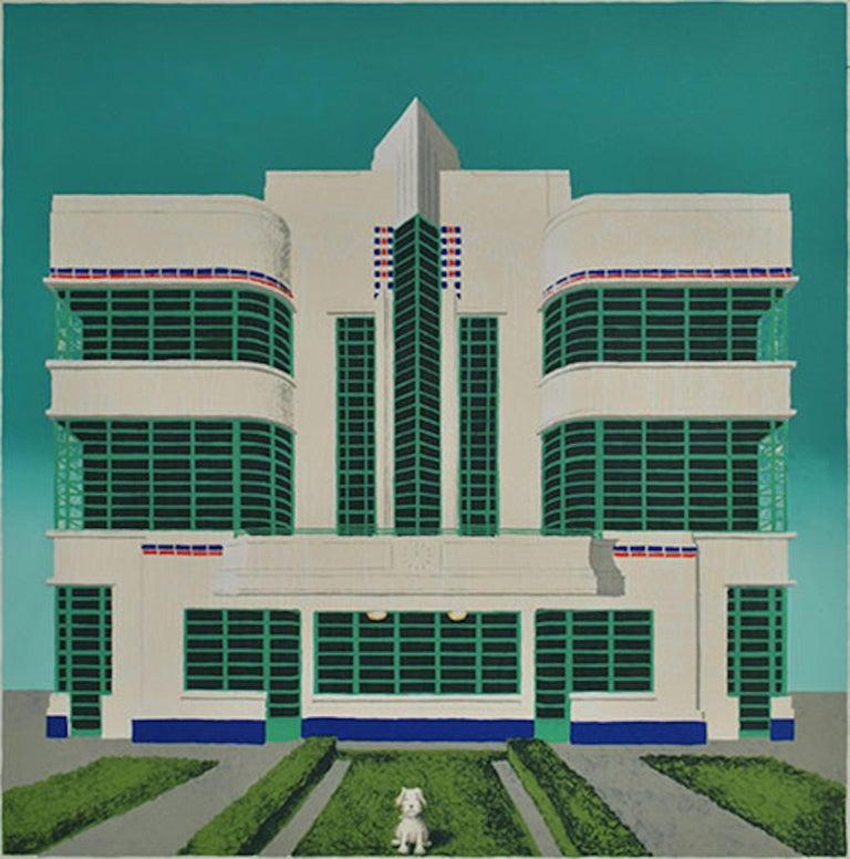 Wes Anderson's Dog – Hoover Building, Mychael Barratt, Bright Art, Pop Art - Print by Mychael Barratt
