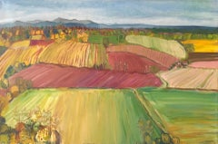 Eleanor Woolley, Fruit Fields, Original Abstract Impressionist Painting, Rural