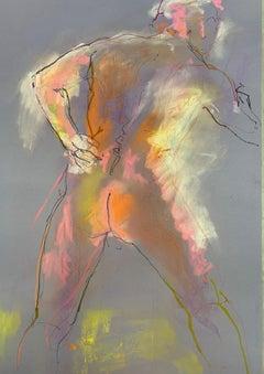 Judith Brenner, Alberto Standing 4, Original Nude Painting, Life Drawing Art