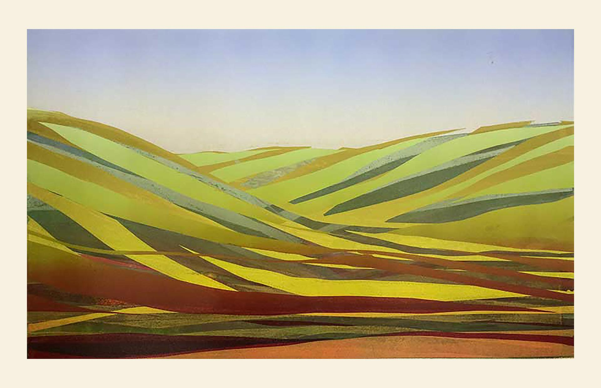Sarah du Feu, Swaledale 2, Unique Monoprint, Contemporary Landscape Art