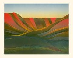 Sarah du Feu, Kentmere Horseshoe, Original Monoprint, Bright Art, Affordable Art