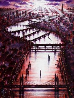 John Duffin, Thames Bridge East, Original Cityscape Painting, Urban London Art