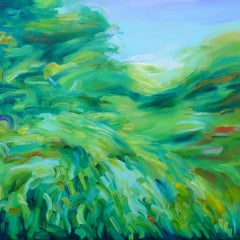 Alanna Eakin, The Chase, Original Landscape Painting, Contemporary Bright Art