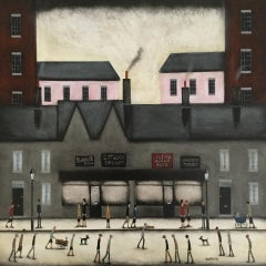 Sean Durkin, Bustling High Street, Contemporary Lowry -esque Figurative Painting