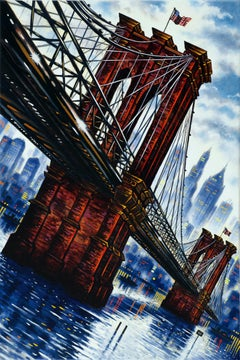 John Duffin, Brooklyn Bridge, Original NYC Landmark Art, Cityscape Painting