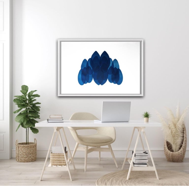 Jonathan Moss, NV24, Original Contemporary Art, Unique Print, Blue and White Art For Sale 5