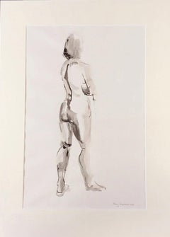 Mary Knowland, Looking Over, Original Nude Drawing, Black and White Drawing