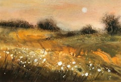 Cathryn Jeff, Autumn Meadow,  Affordable Original Landscape Painting, Bright Art