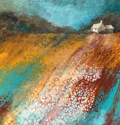 Ochre & Teal Glow, Cathryn Jeff, Original Seascape Painting, Affordable Art
