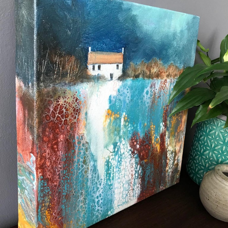Cathryn Jeff, No Neighbours, Original Landscape Painting, Bright Abstract Art For Sale 1