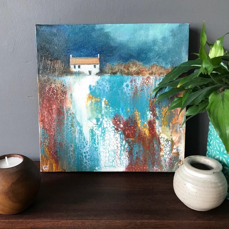 Cathryn Jeff, No Neighbours, Original Landscape Painting, Bright Abstract Art For Sale 2