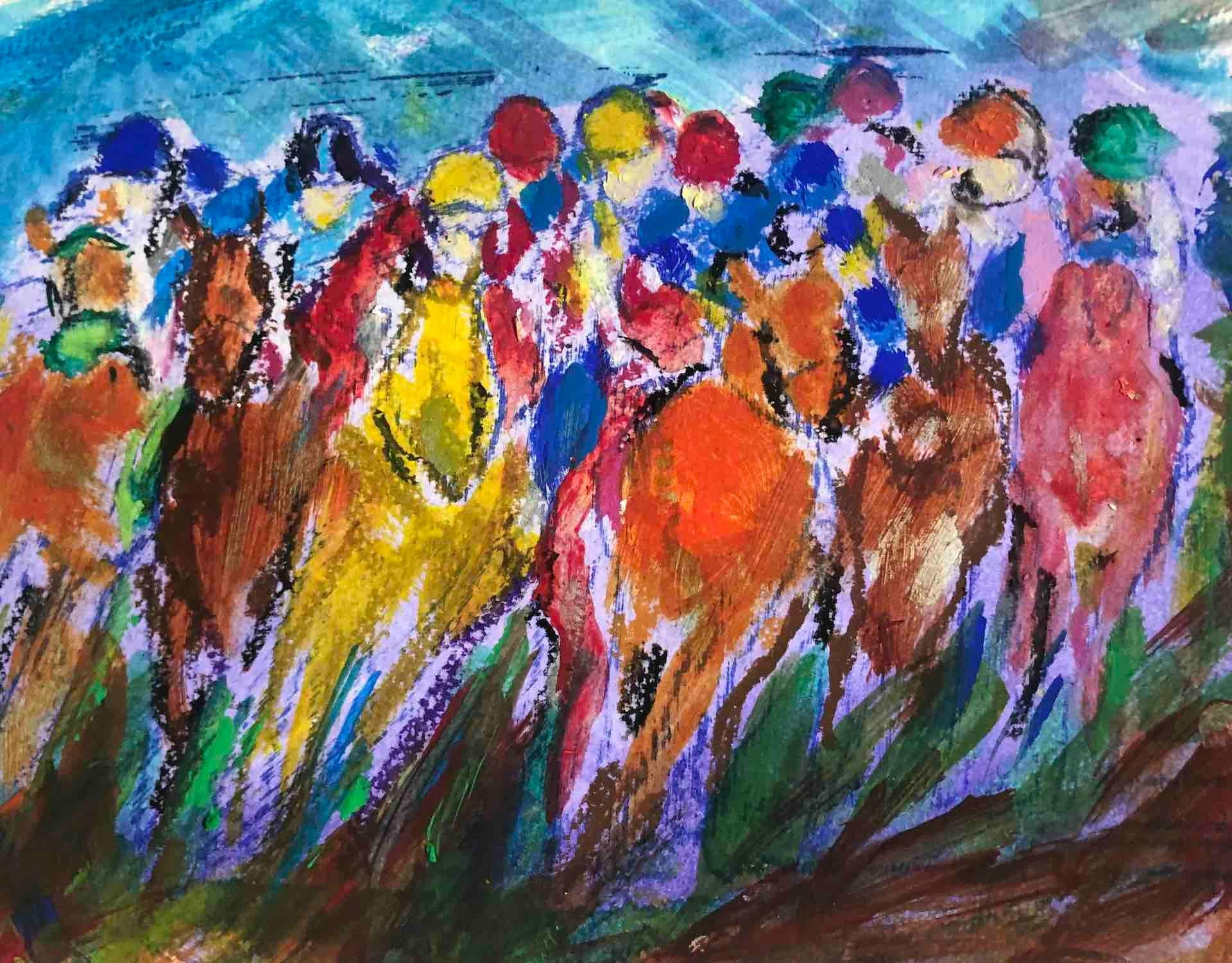 Garth Bayley, Polka Dot, Original Horse Racing Painting, Bright Equine Sport Art