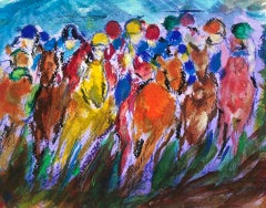 Garth Bayley, Polka Dot, Original Horse Racing Painting, Bright Equine Sport Art