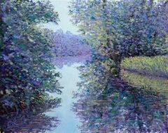 Lee Tiller, Summer Night on the River, Original Impressionist Landscape Painting