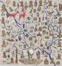 Mychael Barratt, On the Shoulders of Giants, Bright Illustrative Map of Oxford