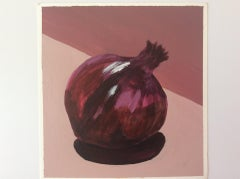 Sarah Adams, One Red Onion, Original Still Life Food Painting, Kitchen Art
