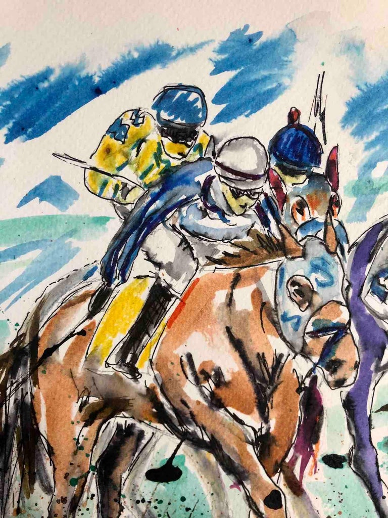 Garth Bayley, Anyone's Race, Original Horse Racing Painting, Contemporary Art For Sale 3