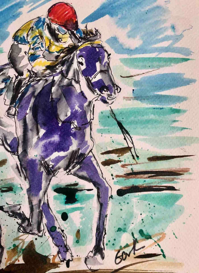 Garth Bayley, Anyone's Race, Original Horse Racing Painting, Contemporary Art For Sale 4