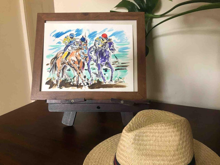 Garth Bayley, Anyone's Race, Original Horse Racing Painting, Contemporary Art For Sale 1
